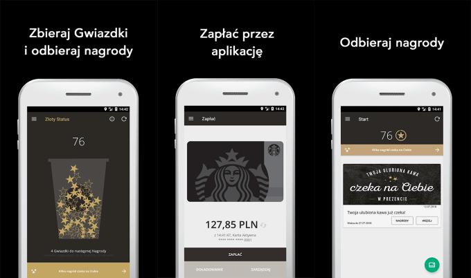 Aplikacja mobilna Starbucks CEE - zrzuty ekranu