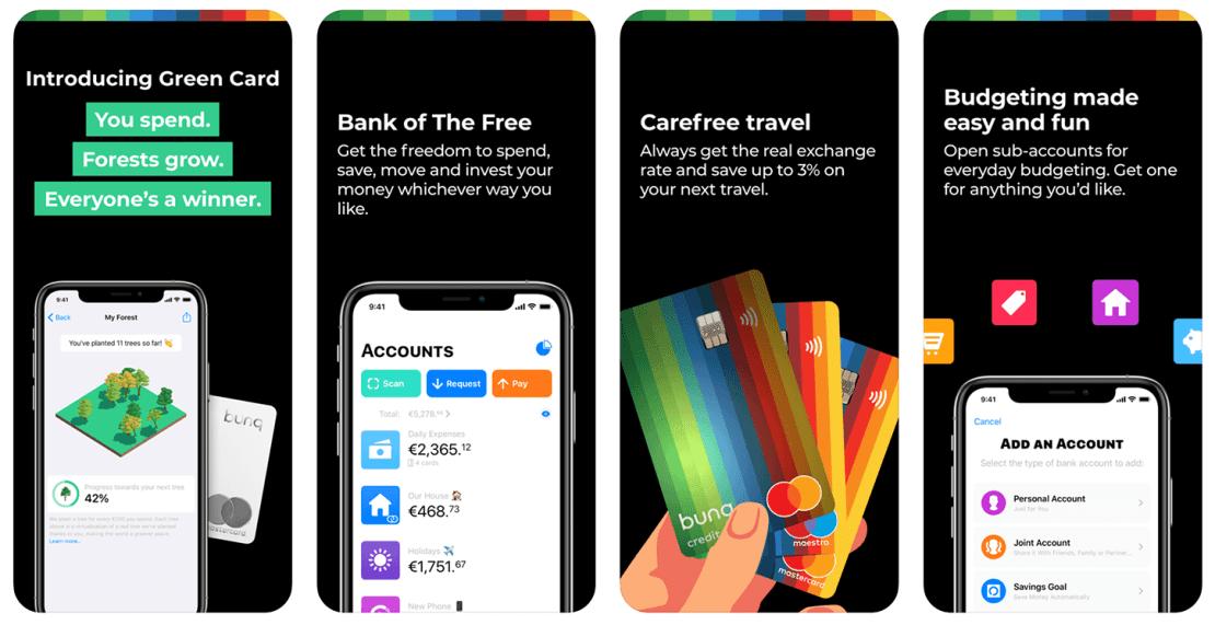 Zrzuty ekranu z aplikacji mobilnej bunq
