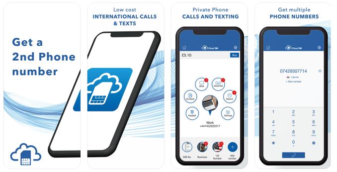 Aplikacja mobilna Cloud SIM:Drugi Numer Telefonu
