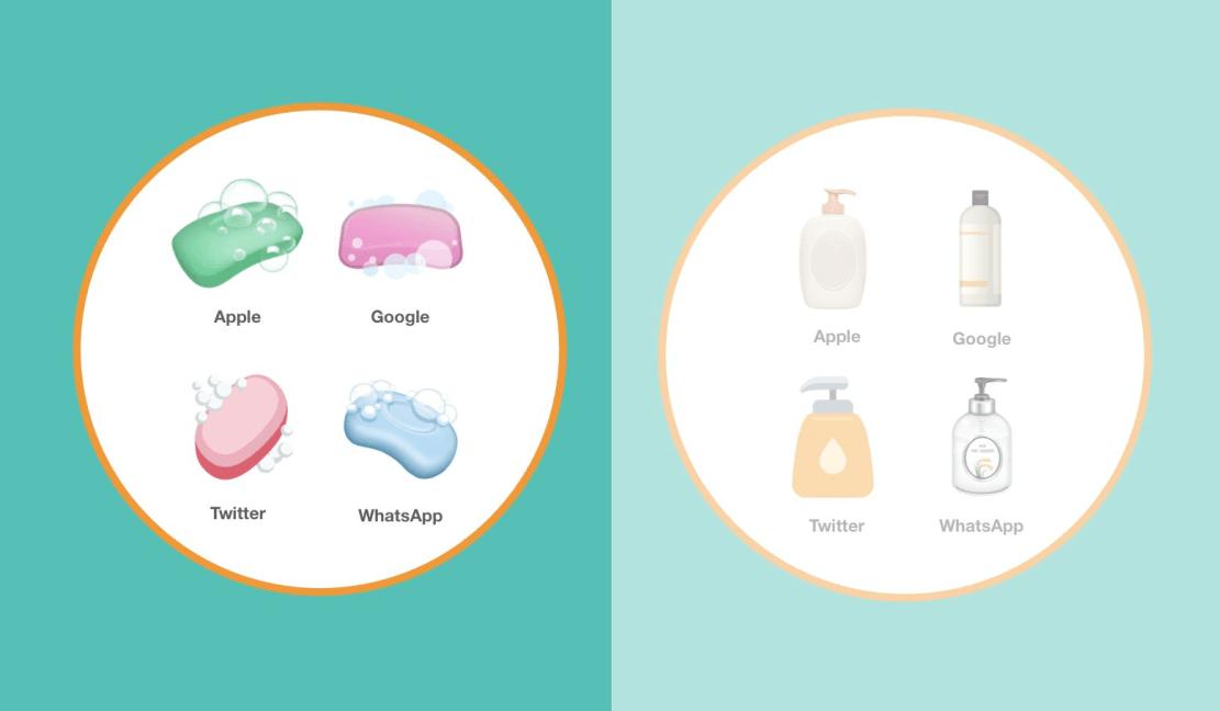 Wygląd Emoji mydła i balsamu w płynie pod różnymi systemami