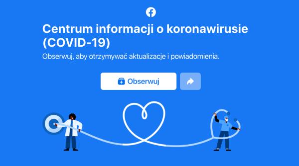 """Facebook uruchomił """"Centrum informacji o koronawirusie (COVID-19)"""""""