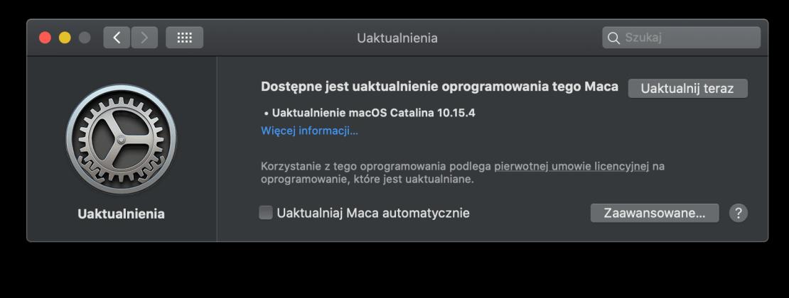 macOS 10.15.4 uaktualnienie