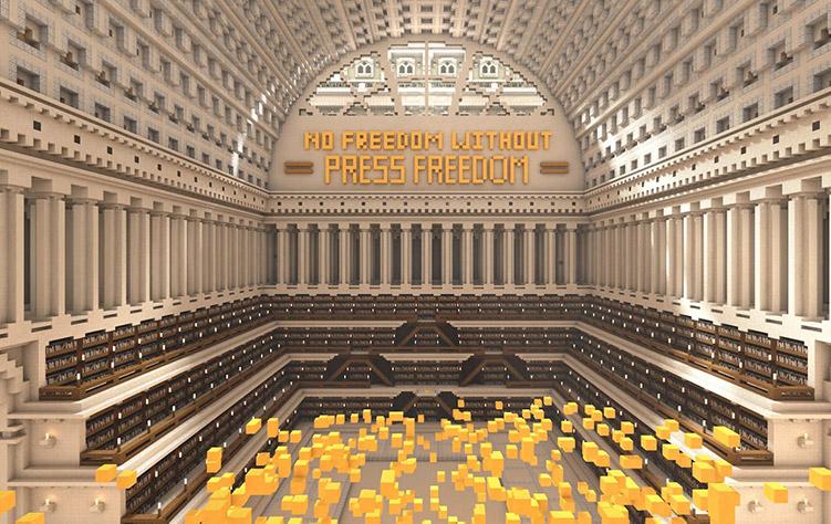 Napis: No Freedom Without Press Freedom w jednej z sal biblioteki