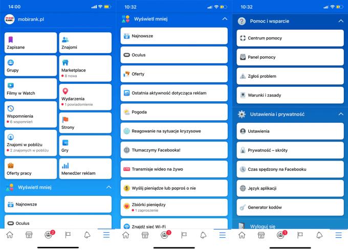Zrzuty ekranu: nowe menu Facebooka