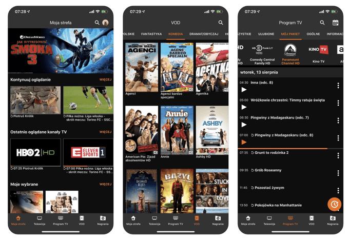 Zrzut ekranu z aplikacji mobilnej Orange TV GO