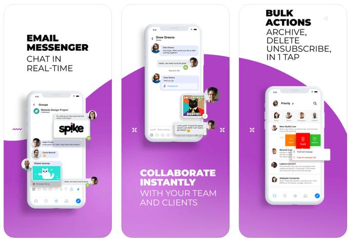 Zrzuty ekranu z aplikacji Spike