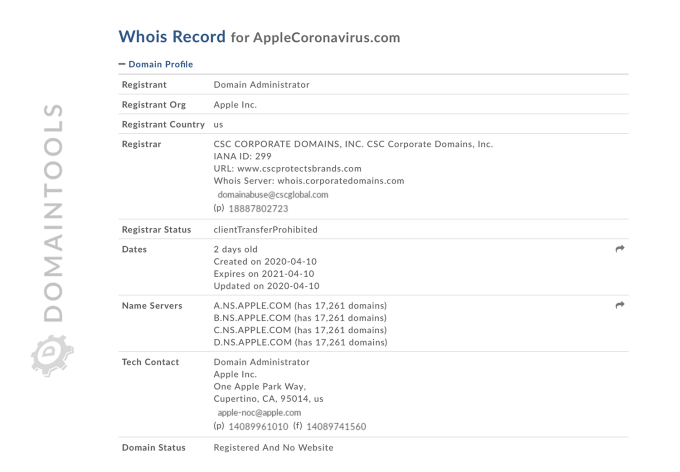 Informacje na temat domeny AppleCoronavirus.com w WHOIS (DomainTools)