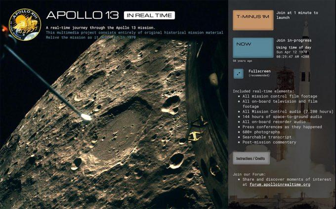 Apollo 13 in Real Time - zrzut ekranu ze specjalnej strony