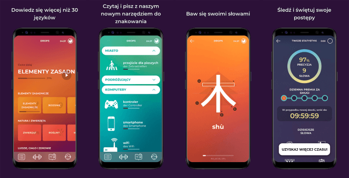 """Zrzuty ekranu z aplikacji do nauki języków obcych """"Drops"""""""