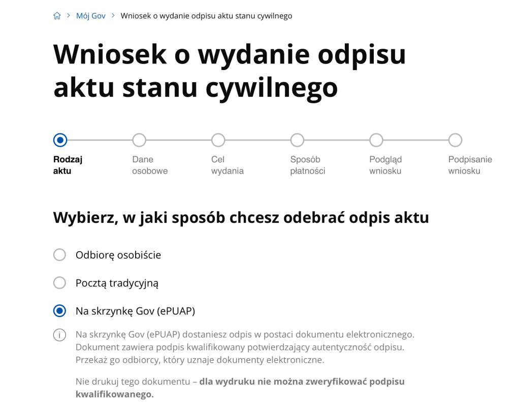 e-wniosek o wydanie odpisu aktu stanu cywilnego w Mój Gov