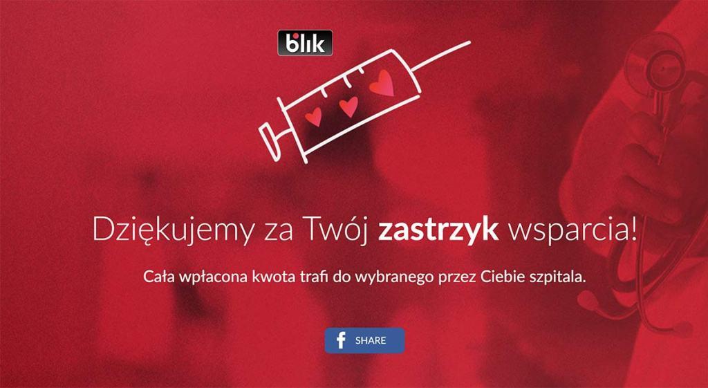 Ekran podziękowania akcji Zastrzyk wsparcia BLIKIEM!