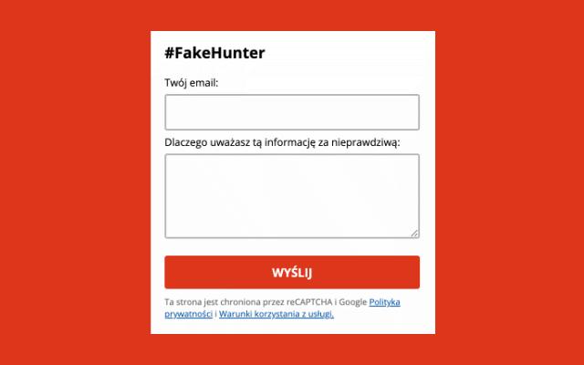 Formularz zgłoszeniowy #FakeHunter