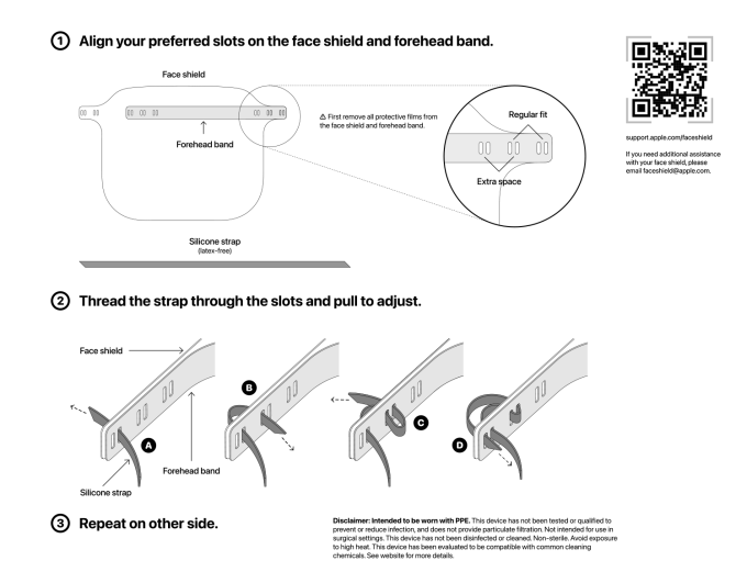 Instrukcja regulacji Apple Face Shield