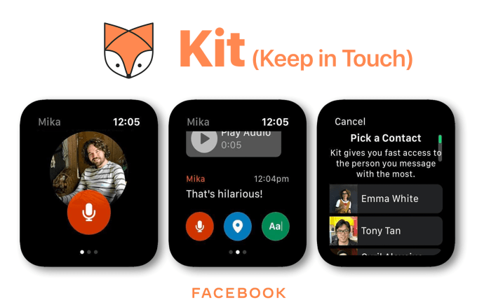 Kit (keep in touch) - experimental facebook messenger for Apple Watch