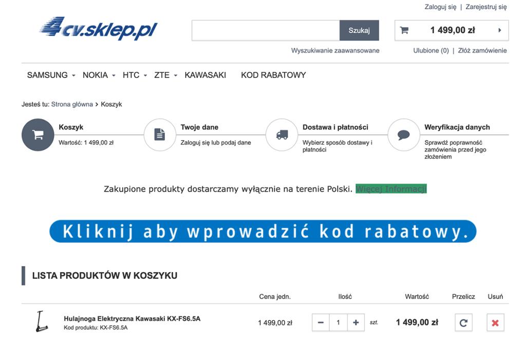 Koszyk w sklepie 4cv.sklep.pl