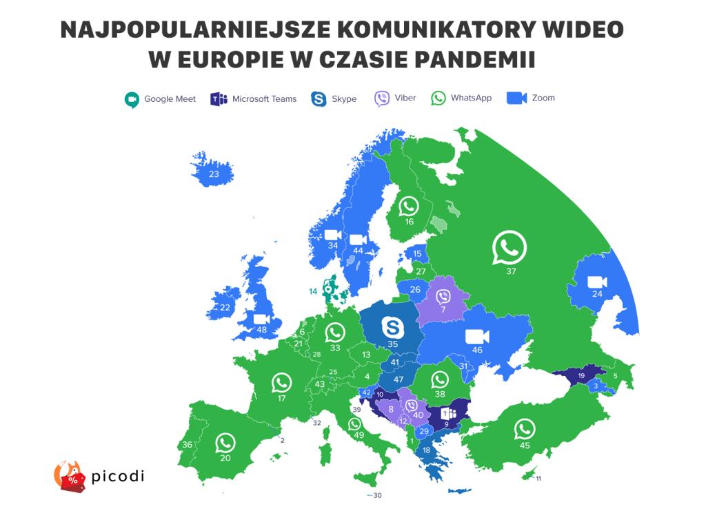Najpopularniejsze komunikatory w krajach Europy podczas pandemii koronawirusa (kwiecień 2020)