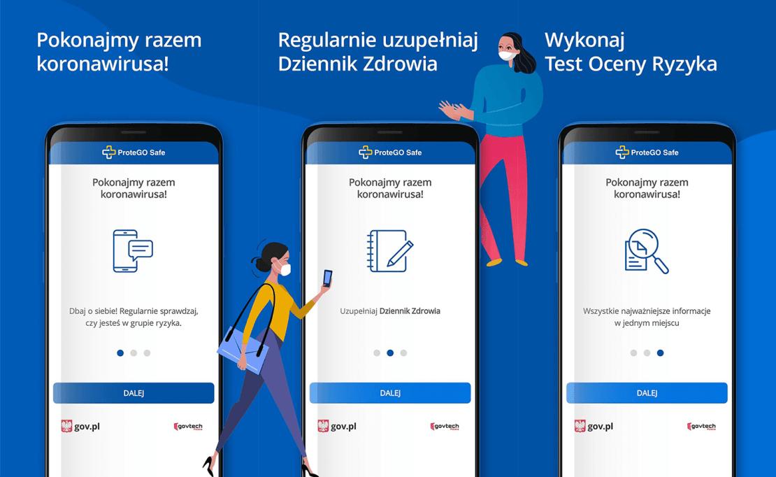 Zrzuty ekranu z aplikacji mobilnej ProteGO Safe