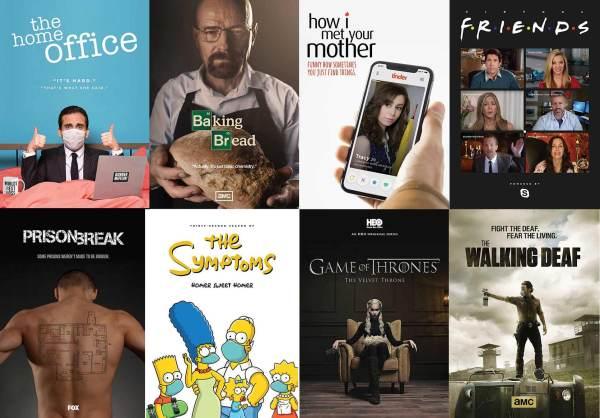 Plakaty popularnych seriali na kwarantannie