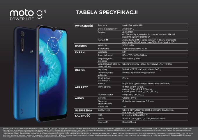 Pełna specyfikacja techniczna smartfona moto g8 power lite