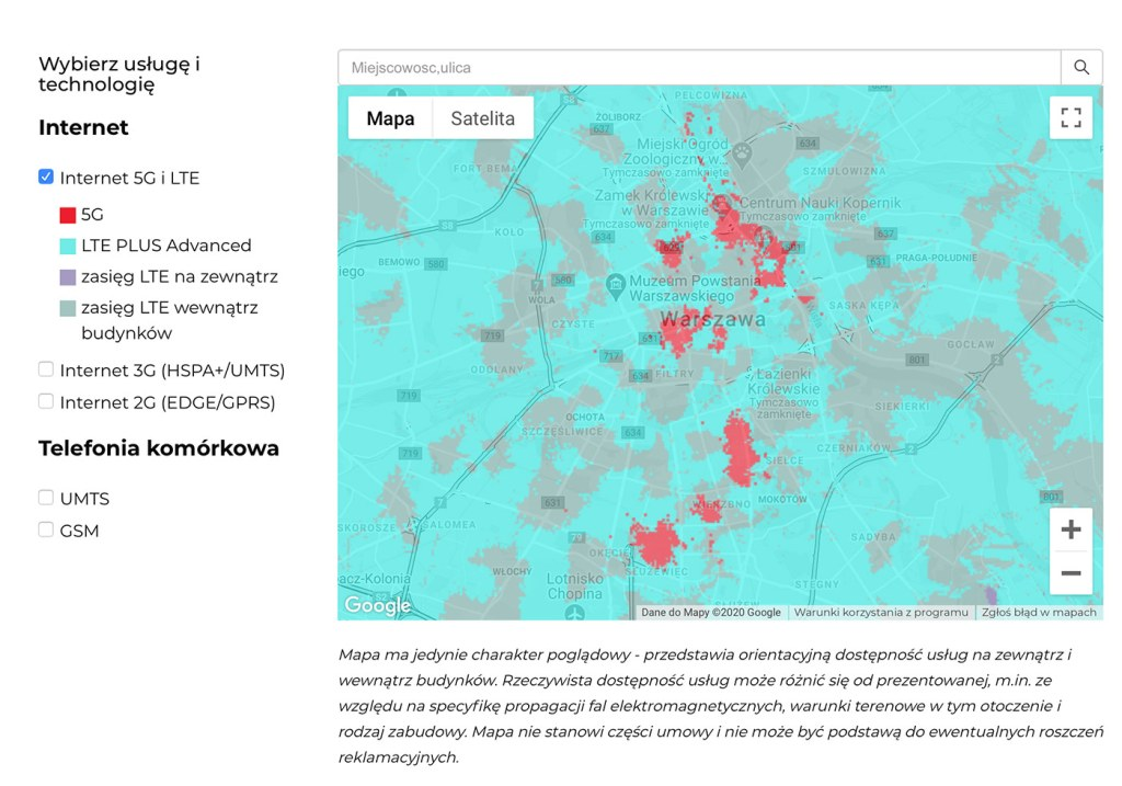 Mapa zasięgu 5G w Warszawie w sieci Otvarta