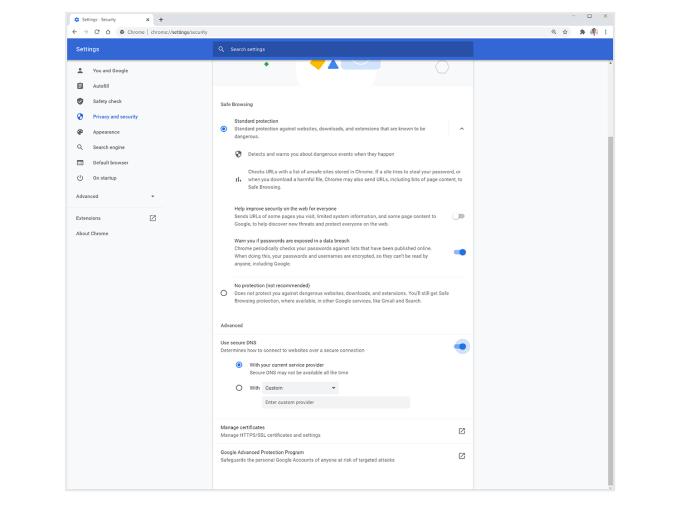 Bezpieczny DNS - Chrome (maj 2020)