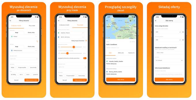 #Clicktrans – aplikacja mobilna dla przewoźników - zrzuty ekranu