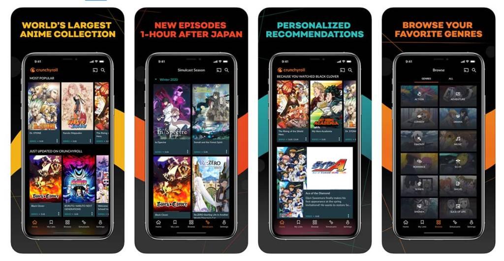 """Zrzuty ekranu z aplikacji mobilnej """"Crunchyroll"""""""