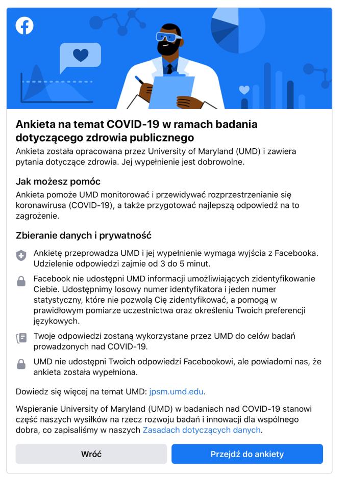 Informacje o ankiecie na temat COVID-19 w ramach badania dotyczącego zdrowia publicznego – Facebook i University of Maryland (UMD