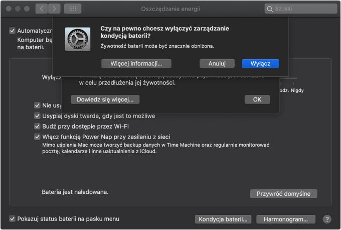 macOS Catalina 10.15.5 - Zarządzanie kondycją baterii