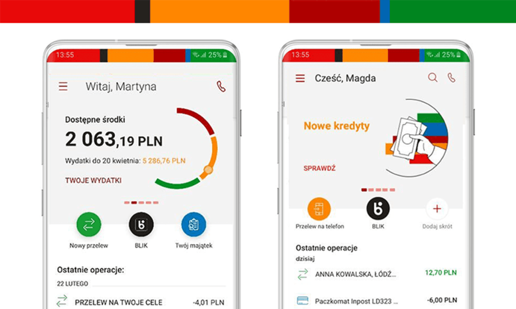Zmiana wyglądu pulpitu w aplikacji mobilnej mBanku w czerwcu 2020 r.