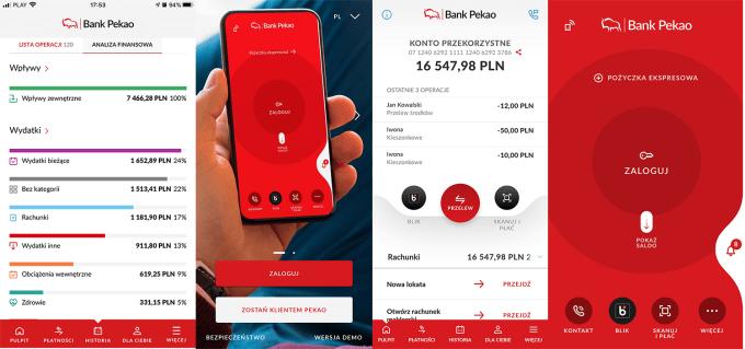 Zrzuty ekranu z aplikacji mobilnej PeoPay