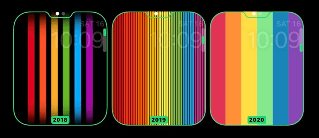 Tęczowe tarcze z serii Pride na Apple Watcha z 2018, 2019 i 2020 roku