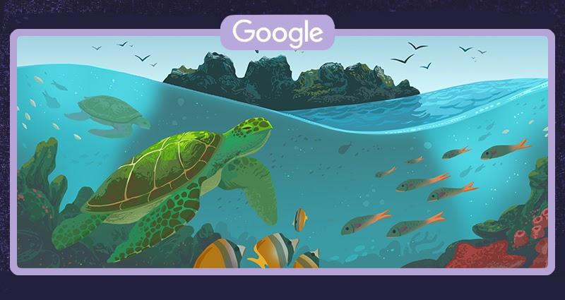 Żółw galapagoski w wodzie - w tle Diabelska Korona (Google Doodle)
