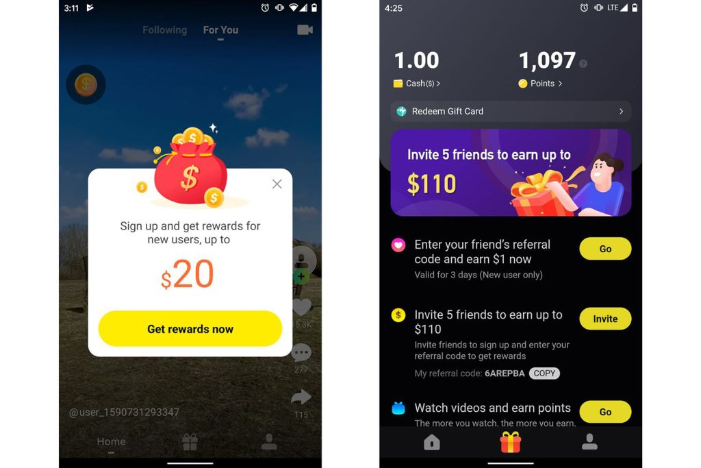 Nagrody pieniężne w aplikacji Zynn