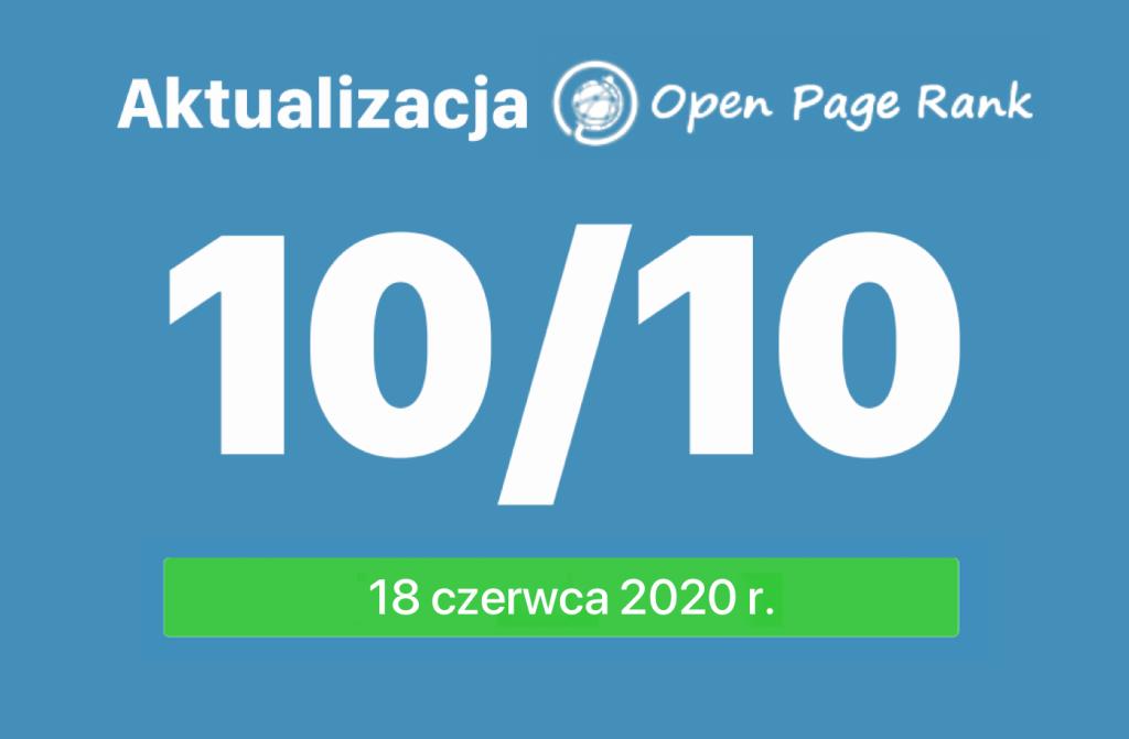 Aktualizacja Open PageRank (18 czerwca 2020 r.)