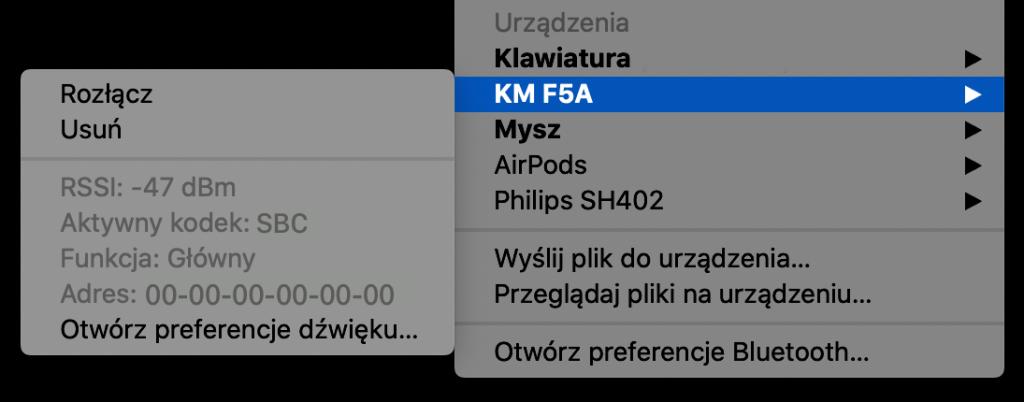 Sprawdzanie wersji kodeka dla słuchawek Bluetooth na komputerze Mac (macOS) SBC