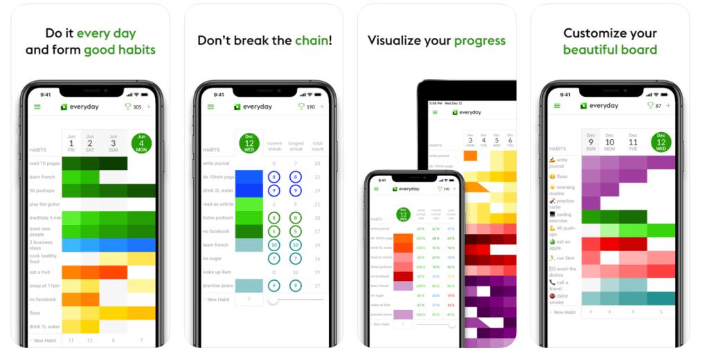 Zrzuty ekranu z aplikacji mobilnej: Everyday Habit Tracker