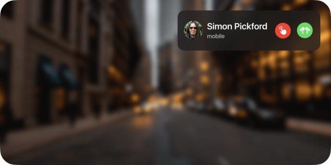 Koncepcja prezentacji połączenia przychodzącego w systemie glassOS