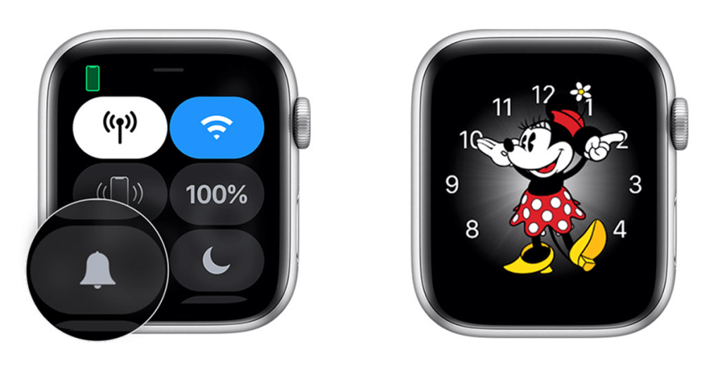 Godzina odczytywana na zegarku Apple Watch przez Myszkę Miki lub Mini