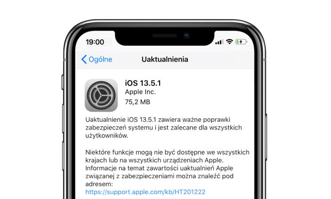 Aktualizacja systemu iOS 13.5.1