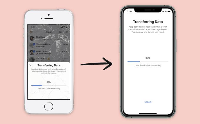Transfer danych komunikatora Signal między urządzeniami z systemem iOS