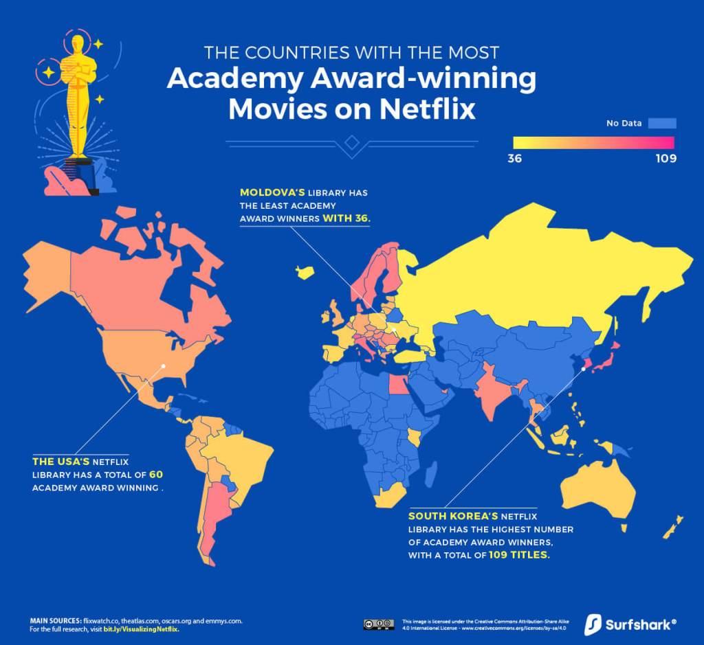 Mapa: Liczba filmów nagrodzonych Oscarami w serwisie Netflix (czerwiec 2020)