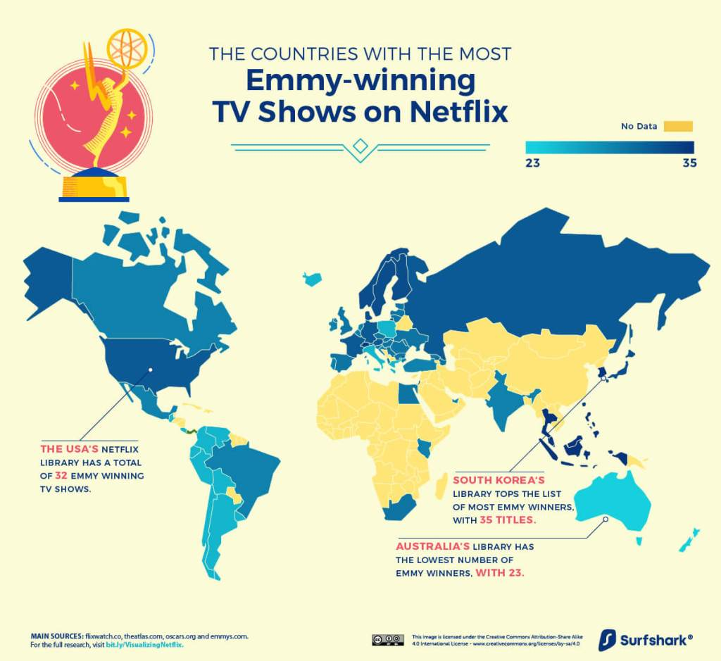 Mapa: Liczba seriali nagrodzonych Emmy w serwisie Netflix (czerwiec 2020)