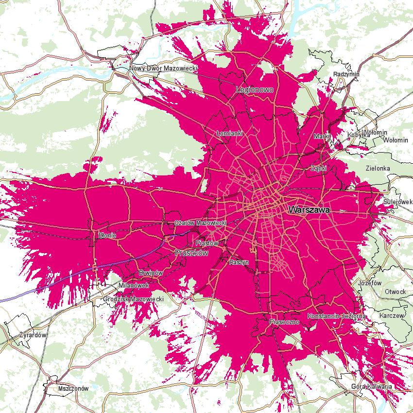 Mapa zasięgu 5G w sieci T-Mobile Polska (stan na 9 czerwca 2020 r.)
