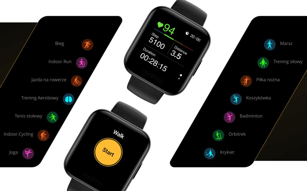 14 trybów sportowych w zegarku realme Watch