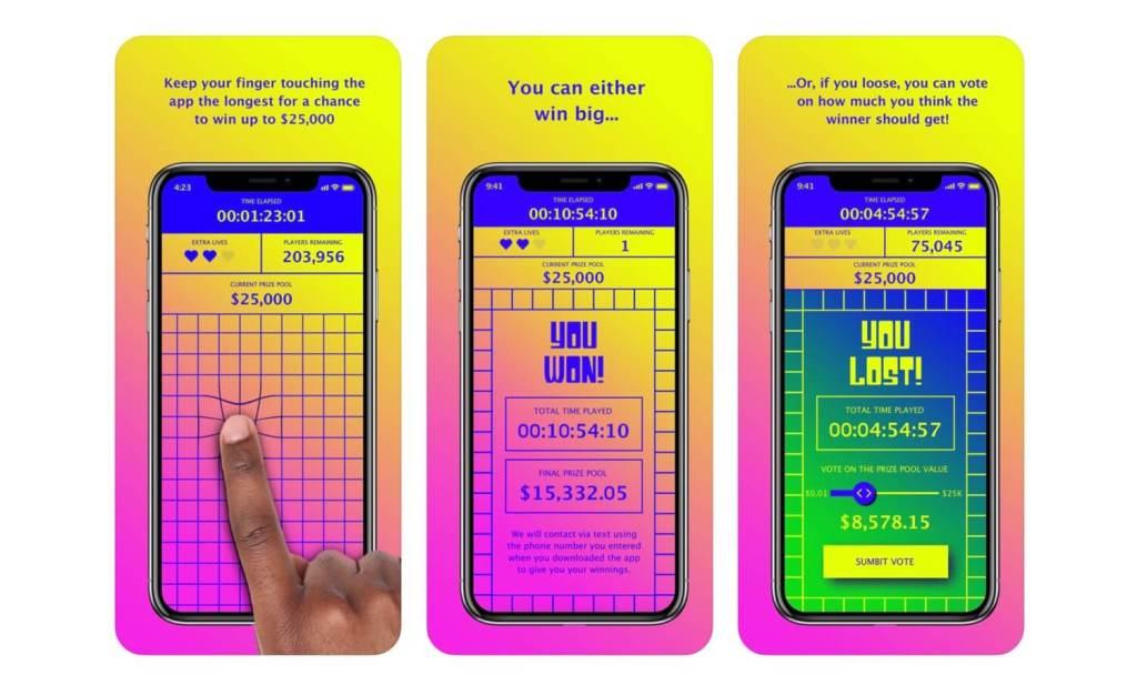 """Zrzuty ekranu z aplikacji mobilnej """"Finger on the App"""""""