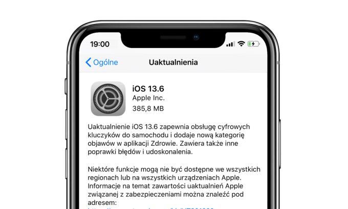 Uaktualnienie iOS 13.6 i iPadOS 13.6