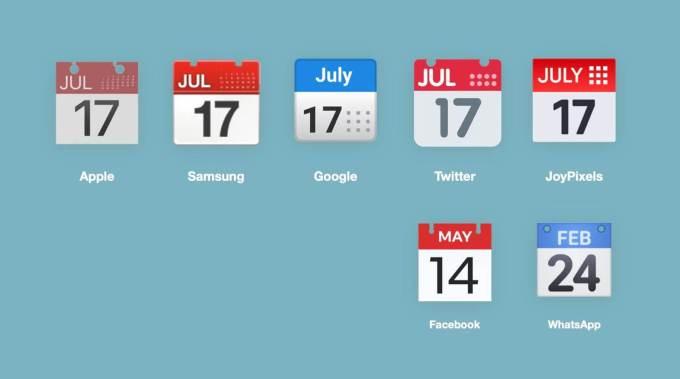 """Emoji """"Kalendarz"""" pod różnymi platformami w 2020 roku"""