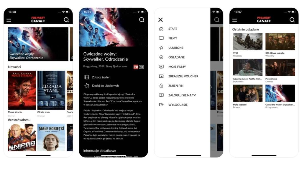 Zrzuty ekranu z aplikacji mobilnej PREMIERY CANAL+