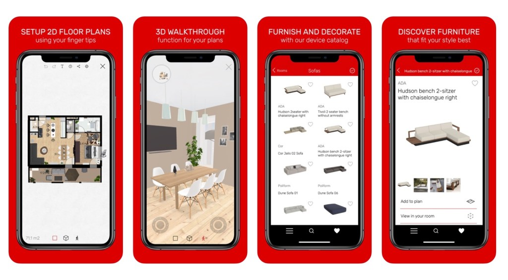 "Aplikacja mobilna ""Roomle 3D & AR room planner"""